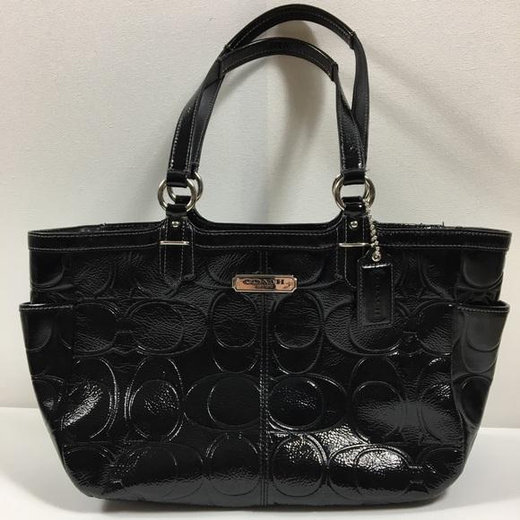 9f27c9164f35 Coach F19462 Glossy Black Patent Leather Handbag